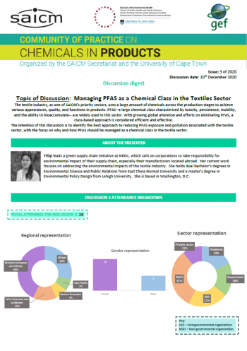Management on classes of chemicals and flame retardants in the textiles sector