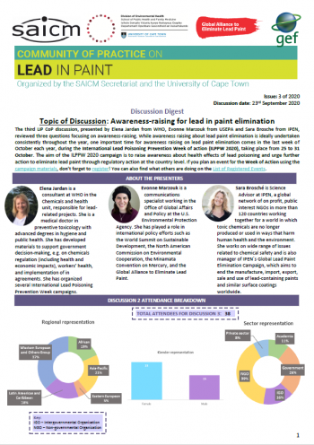 Awareness raising materials for lead in paint elimination