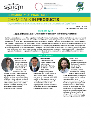Chemicals of concern in building materials