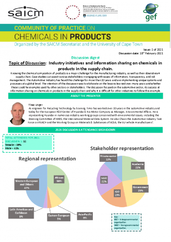 Industry initiative and information sharing on chemicals in products in the supply chain