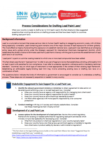 Process Considerations for Drafting Lead Paint Laws