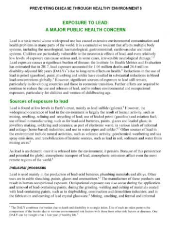 Preventing disease through healthy environments: exposure to lead: a major public health concern